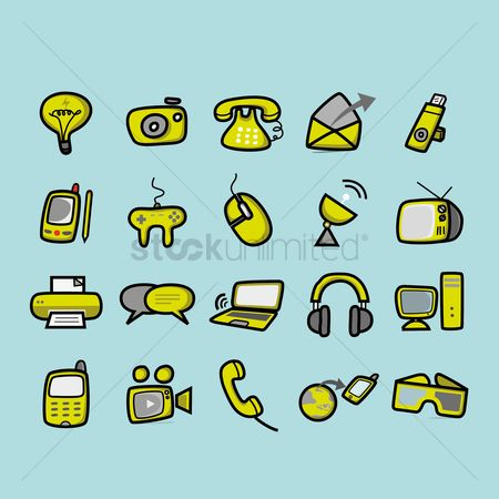 Hardwares : Set of technology icons
