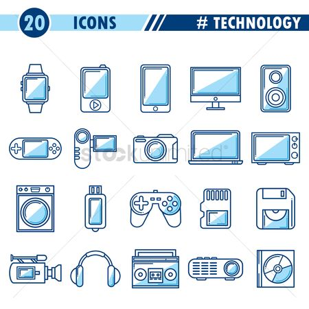 Washing machine : Set of technology icons