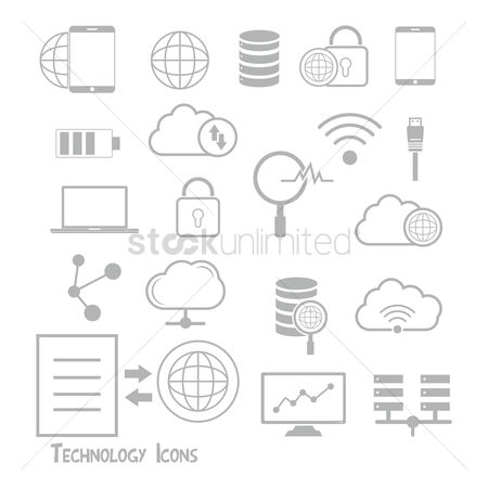 Password : Set of technology icons