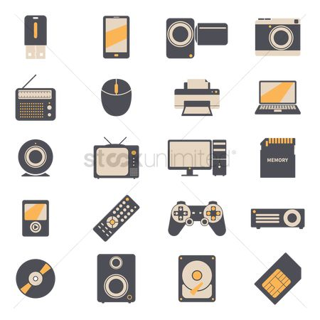 Multimedias : Set of technology product icons