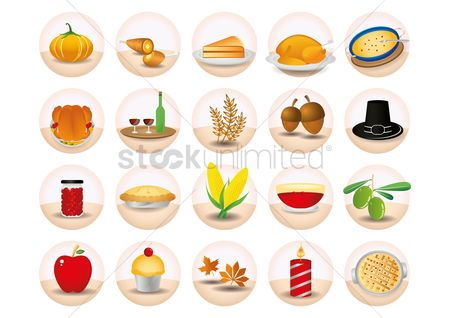 Soup : Set of thanksgiving icons