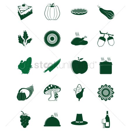 Lettuce : Set of thanksgiving icons
