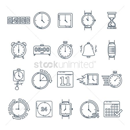 Hours : Set of time icons
