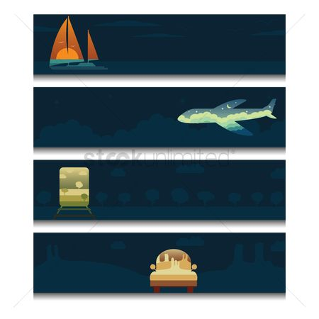 Spaceships : Set of transport banner