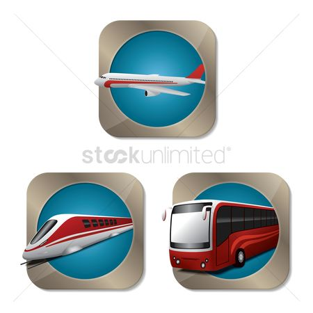 Aeroplanes : Set of transportation icons