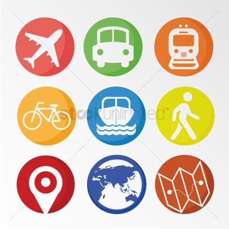 Map pointer : Set of travel icons