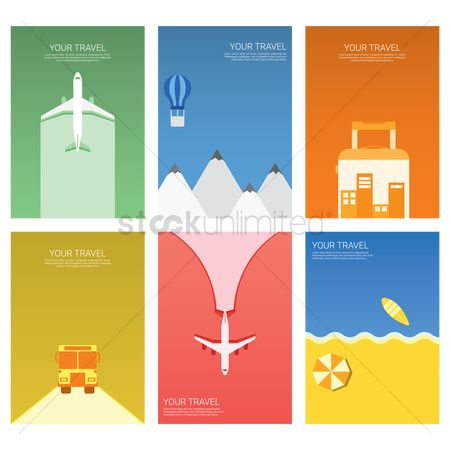 Copy spaces : Set of travel posters