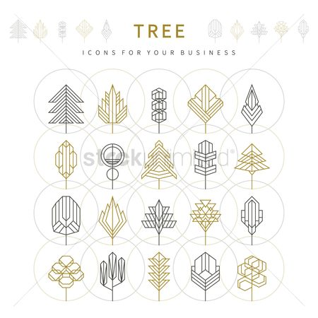 Linear : Set of tree template icons