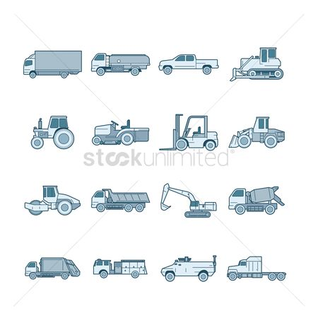 Agriculture : Set of truck icons