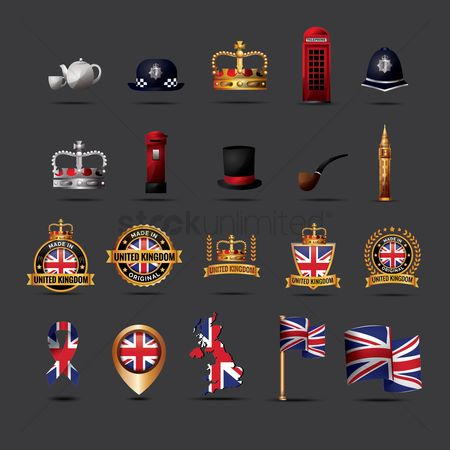 Map pointer : Set of united kingdom flag icons