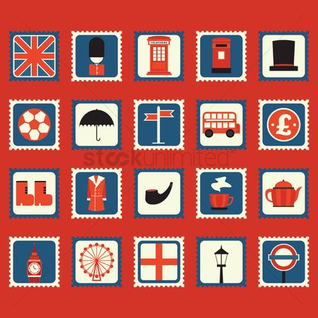 Boxes : Set of united kingdom general icons