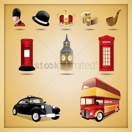 Taxis : Set of united kingdom icons