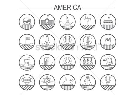 Hotdogs : Set of united states of america icons