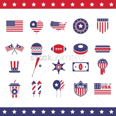 Baseball : Set of united states of america icons