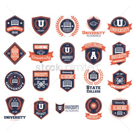 Education : Set of university logo elements