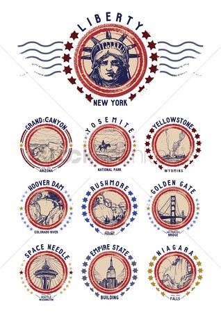 Needle : Set of us grunge rubber stamps