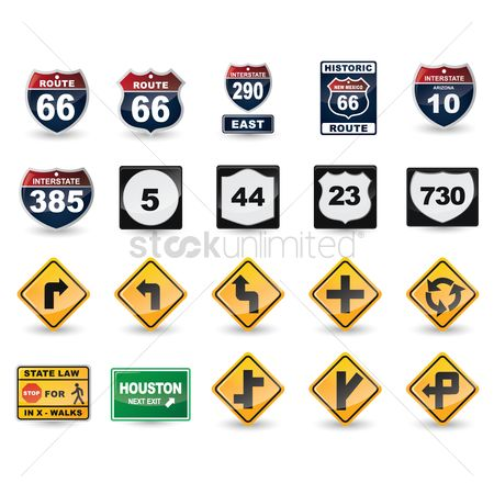 East : Set of us road sign icons