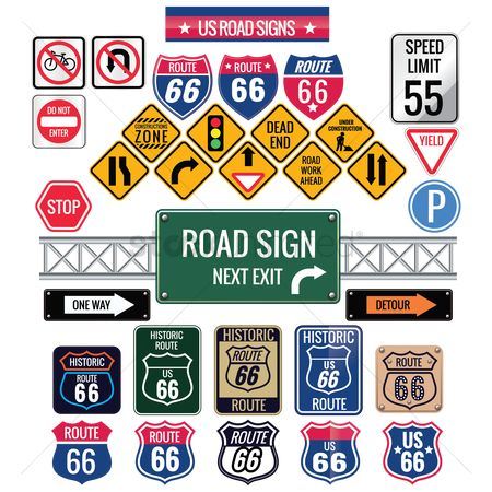 United states : Set of us road signs