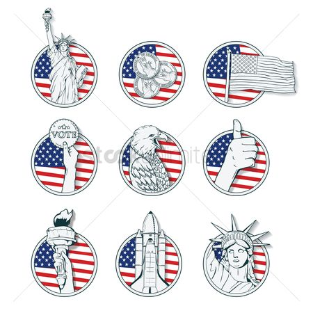 Flag : Set of usa icons