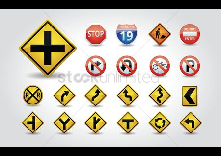 Warning : Set of usa road signs