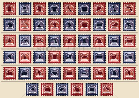 State : Set of usa state postage stamps