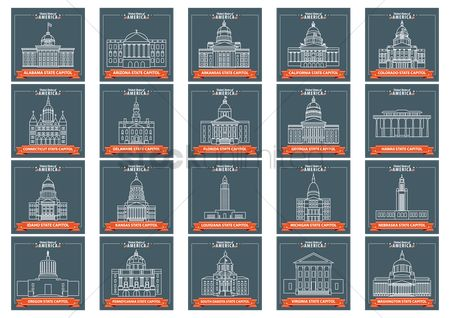 United states : Set of usa states capitol icons