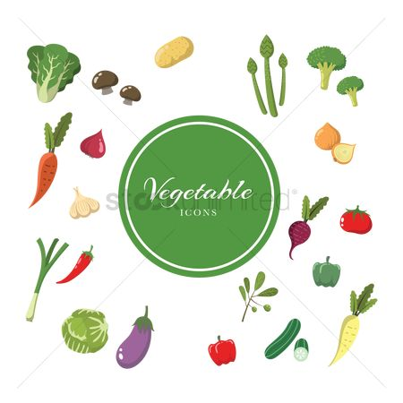 Fresh : Set of vegetable icons