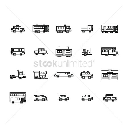 Tram : Set of vehicle icons