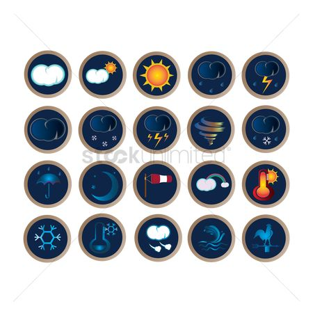 Shield : Set of weather icons
