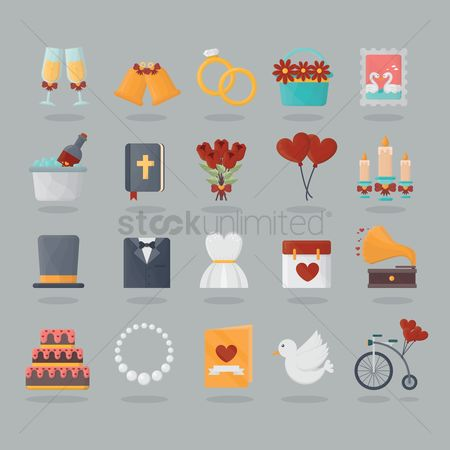 Vintage : Set of wedding icons