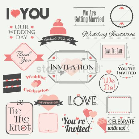 Weddings : Set of wedding invitation icons