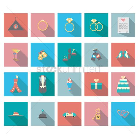 Champagnes : Set of wedding theme icons
