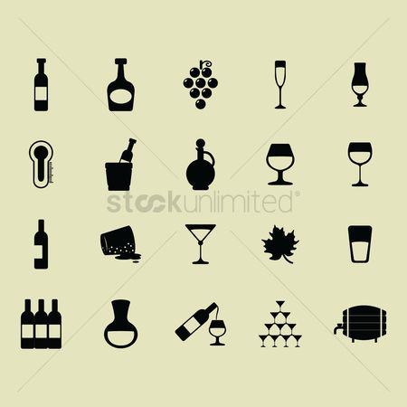 Grapes : Set of wine icons