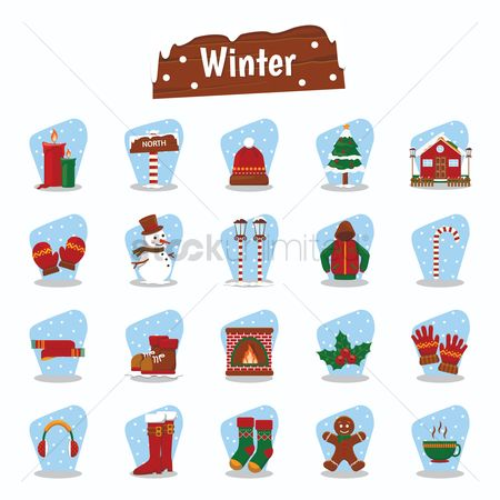 Wooden sign : Set of winter icons