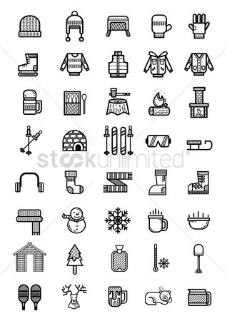 Beer mug : Set of winter icons