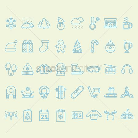 Mountains : Set of winter icons