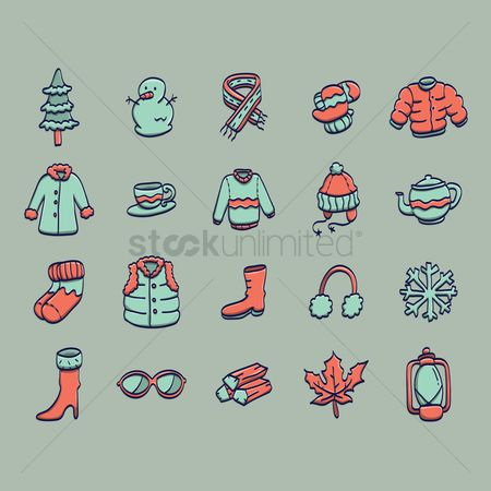 Footwear : Set of winter items