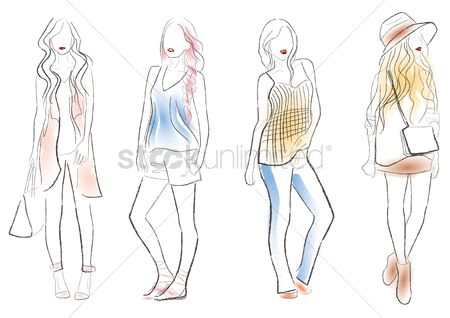 Styles : Set of women fashion design sketches