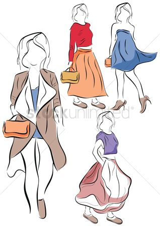 Skirt : Set of women fashion design sketches