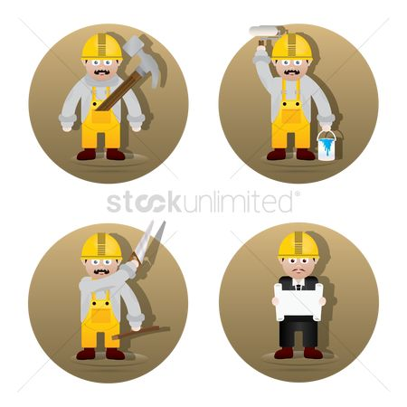 Builder : Set of worker figures