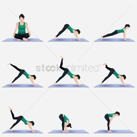 Lifestyle : Set of yoga poses