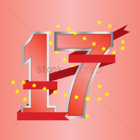 17 : Seventeen years anniversary celebration design