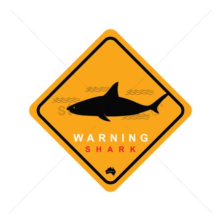 Beware : Shark zone warning sign