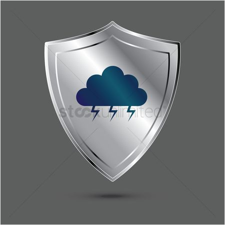 Lighting : Shield with cloud and thunder icon