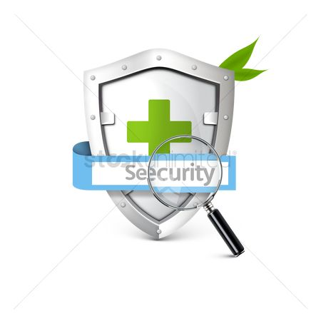 Securities : Shield with magnifying glass