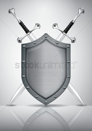 Shield : Shield with two crossed swords