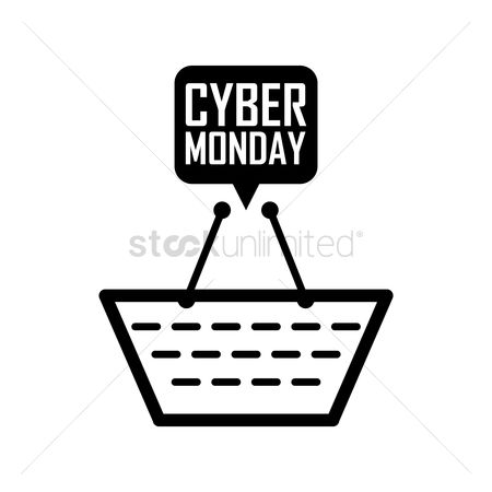 Terms : Shopping basket with cyber monday speech bubble