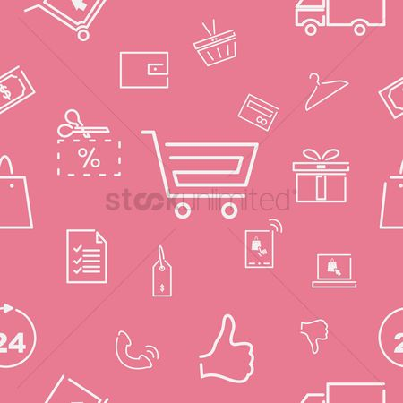 Hand truck : Shopping icons pattern