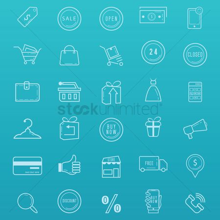 Trolley : Shopping icons set