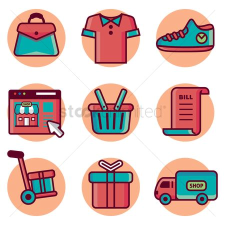 Shopping cart : Shopping icons